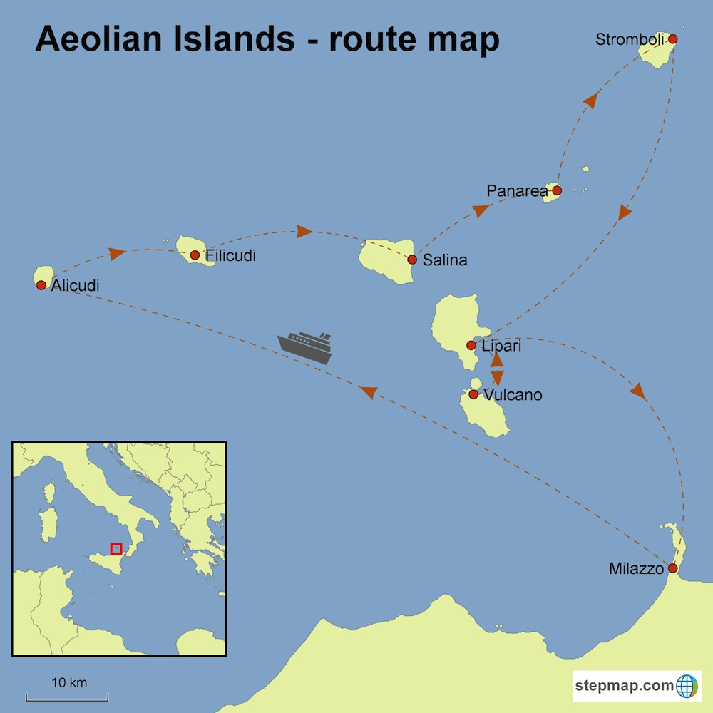 Aeolian islands - route map