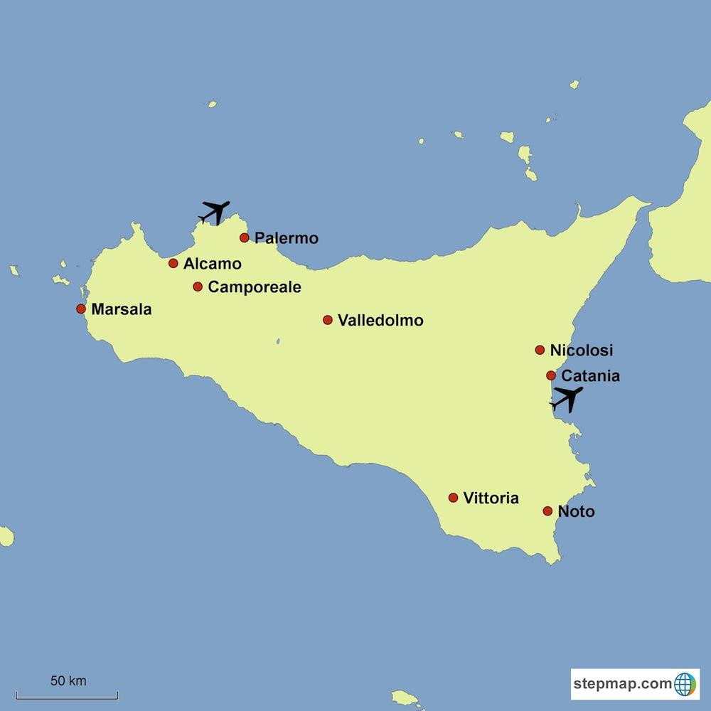 Sicily Wine Tour map