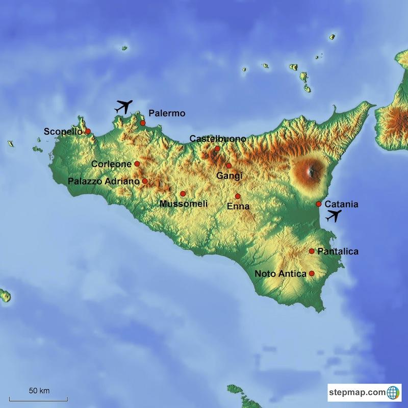 Hidden Sicily Tour map