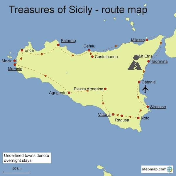 Sicily Tour map