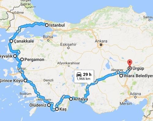 Turkey tour - route map