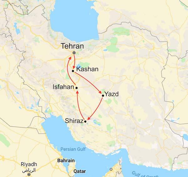 Iran Tour map