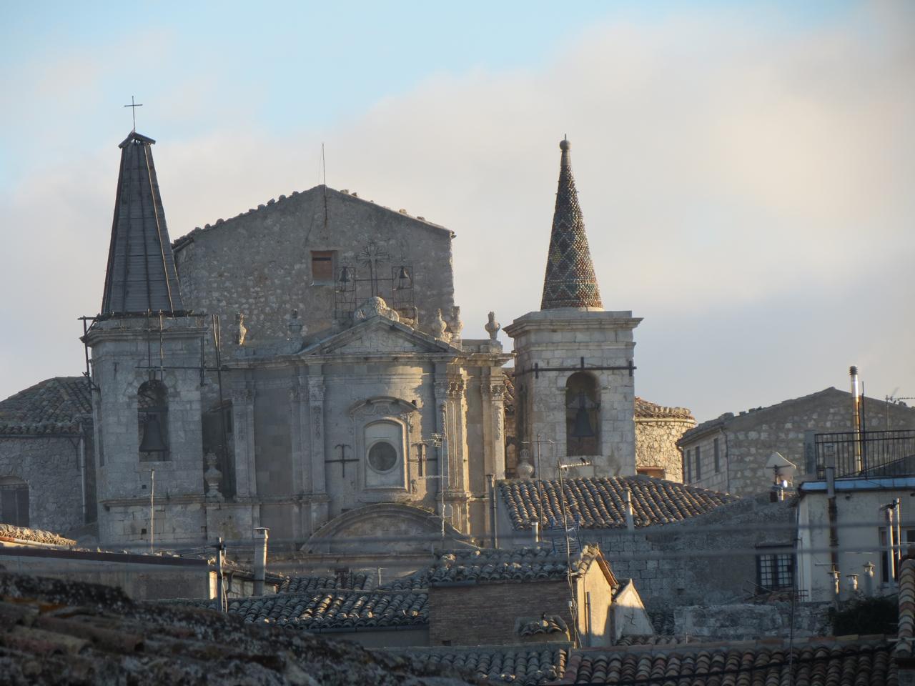view of Santa Maria di Loreto over the roofs of Petralia Soprana