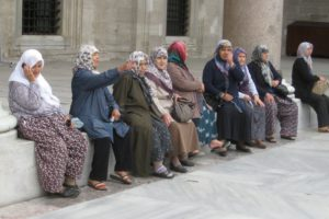 Women at the Suleymaniye mosque, Istanbul, Turkey