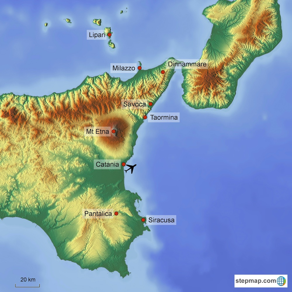 Eastern Sicily Walking - route map