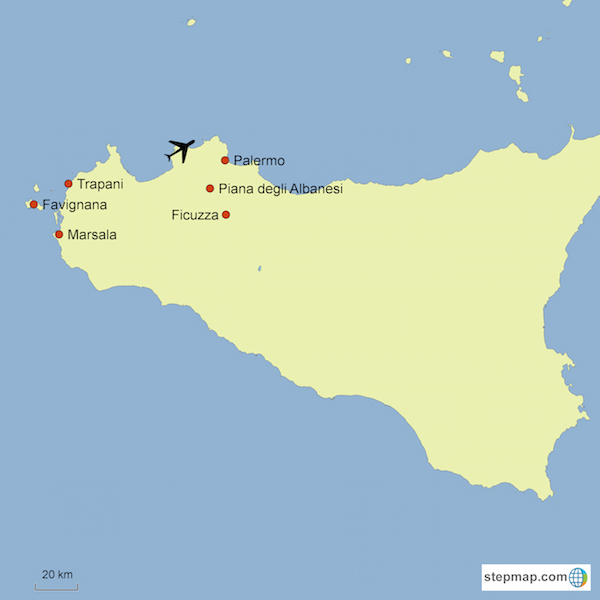 Sicily Easter Tour map