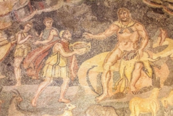 Ulysses and Polyphemus as depicted in one of the mosaics at the Villa del Casale, Piazza Armerina